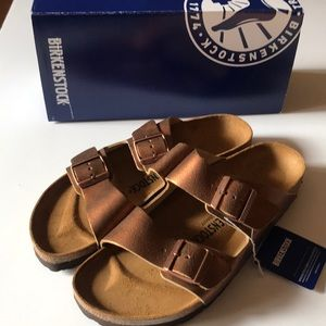 Birkenstock's ladies Arizona copper sandals 11